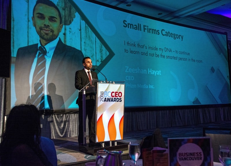 Prizm Media CEO Zeeshan Hayat Wins BC CEO Award